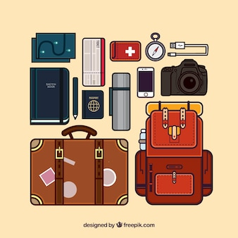 Set of travel equipment in linear style