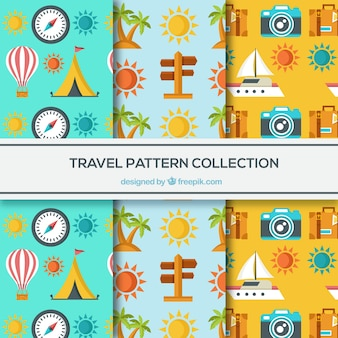 Set of travel patterns in flat design