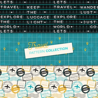 Set of travel patterns in vintage style