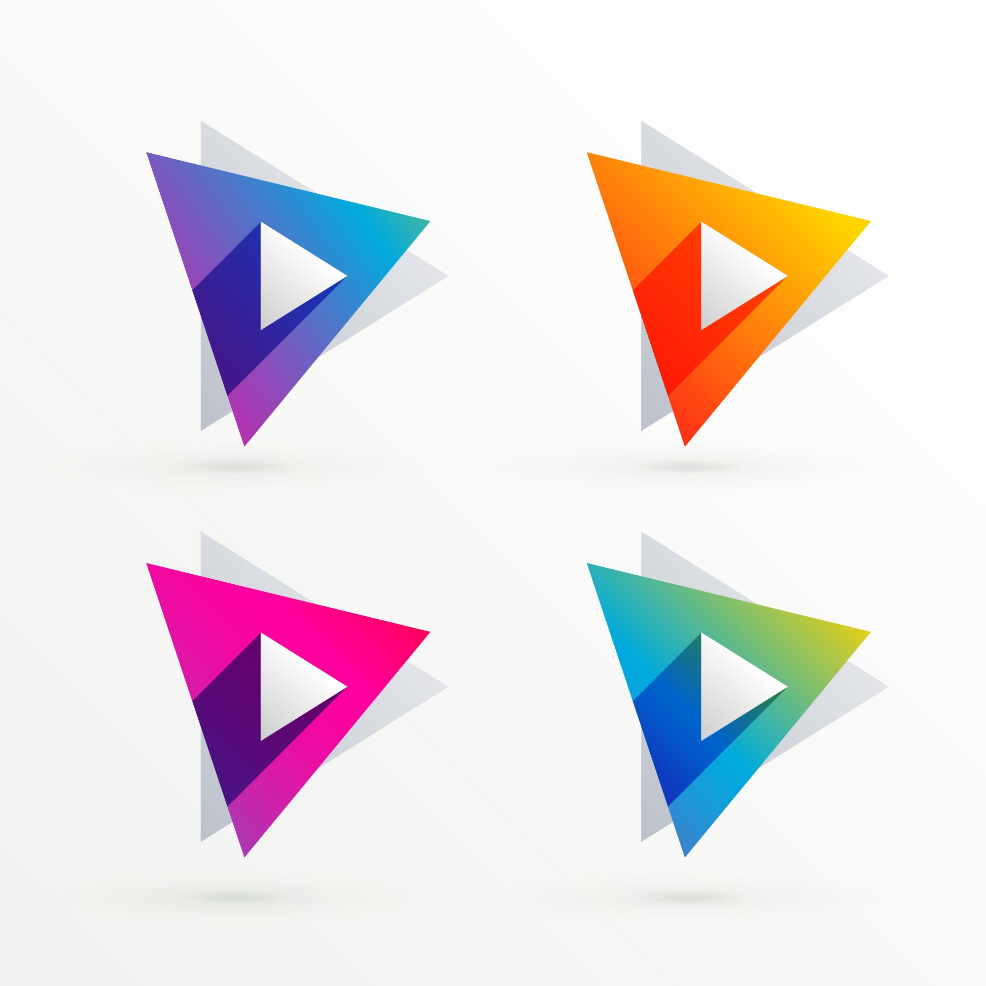Set of triangle banners in four colors