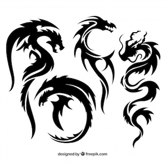 Set of tribal dragon tattoos