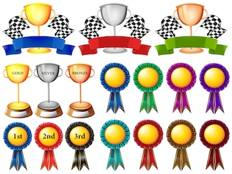Set of trophy and ribbons illustration