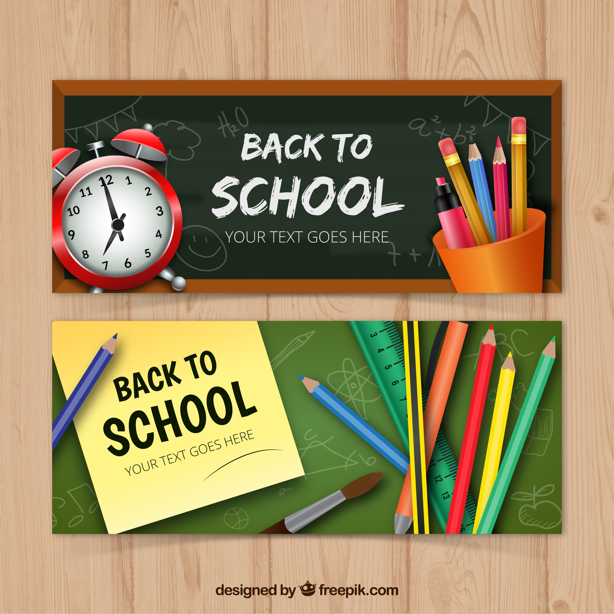 Set of two banners with realistic school materials