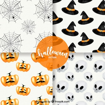 Set of typical watercolor halloween elements patterns