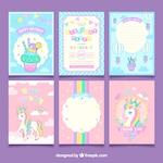 Set of unicorn birthday cards
