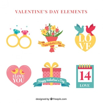 Set of valentine gifts in vintage design