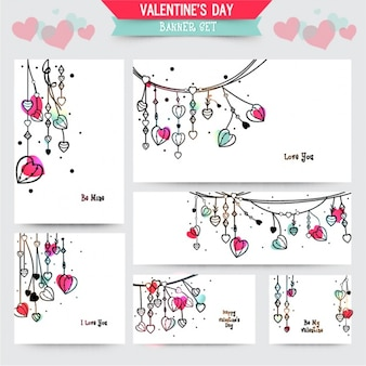 Set of valentine's banners with color details