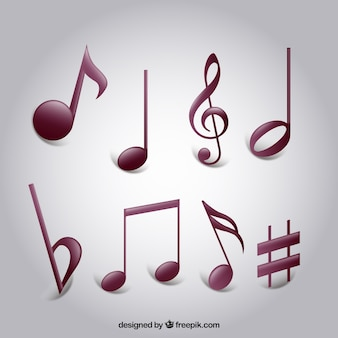 Set of variety musical notes
