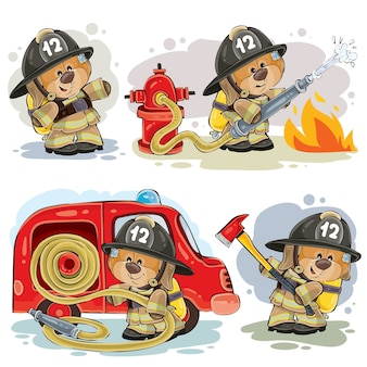 Set of vector clip arts of teddy bear fireman