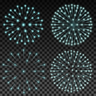 Set of vector fireworks on transparent background