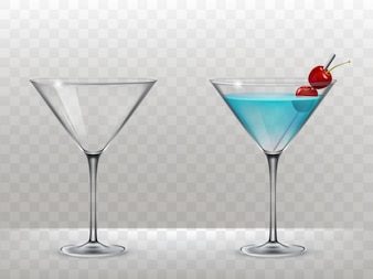 Set of vector glasses for alcohol
