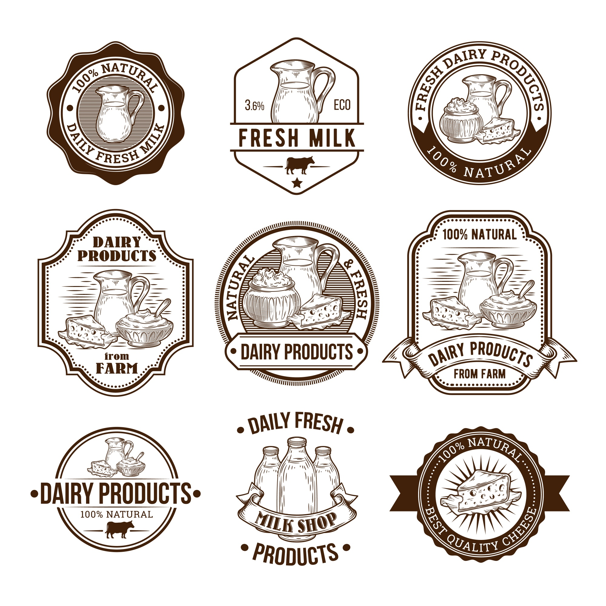 Set of vector illustrations, badges, stickers, labels, stamps for milk and dairy products