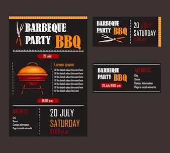 Set of vector illustrations of a bbq menu template, invitation card on a barbecue, gift certificate
