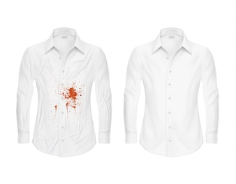 Set of vector illustrations of a white shirt with a red spot and clean, before and after a dry-cleaner