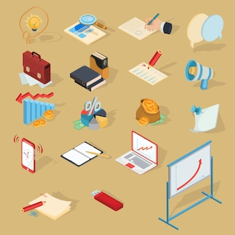Set of vector isometric business icons.