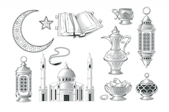 Set of vector muslim illustrations, icons for prayer and ramadan kareem in the style of engraving