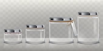 Set of vector transparent glass jars for storage of food products, canning and preserving,
