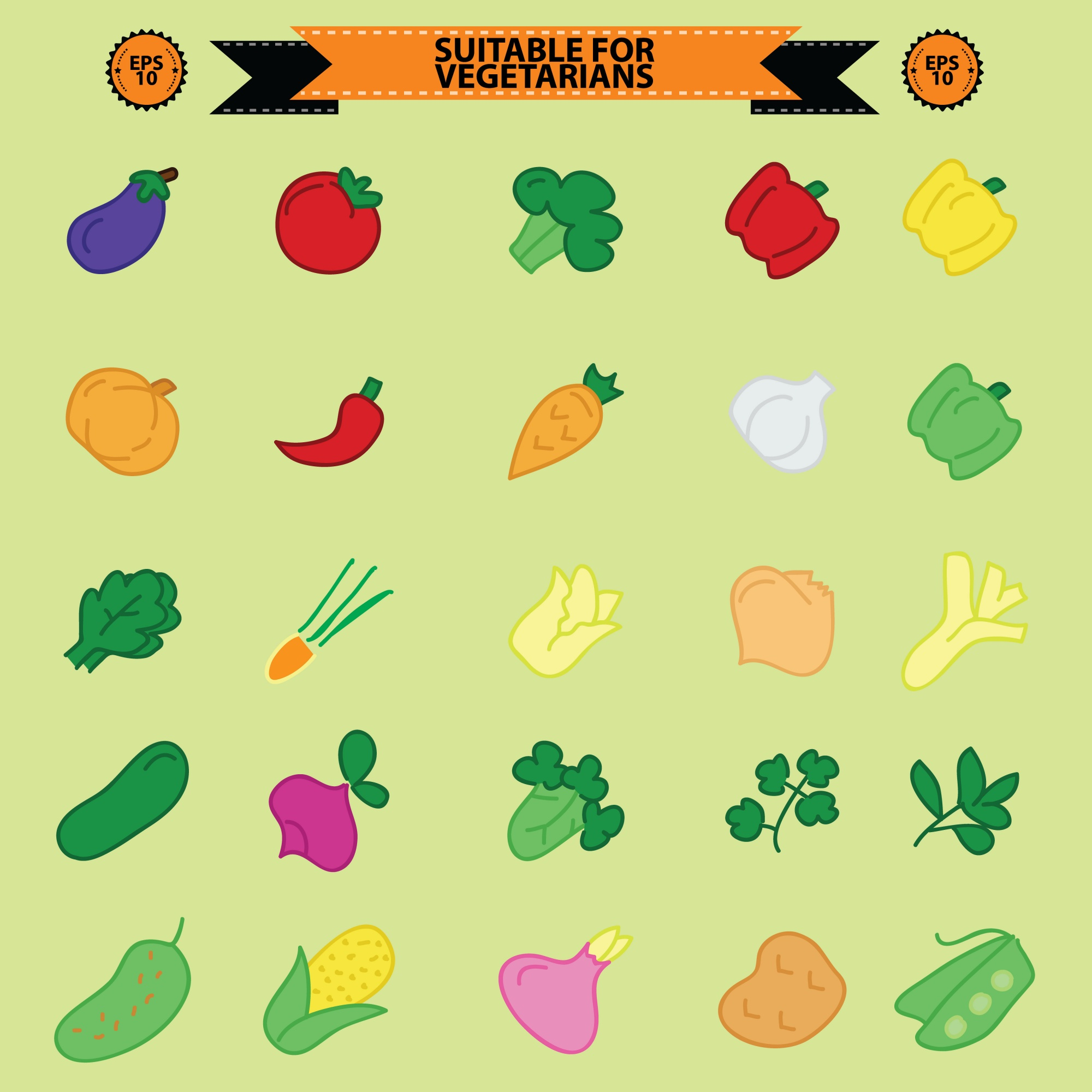 Set of vegetarian food icons, vegan friendly icons, badges, stamps and emblems