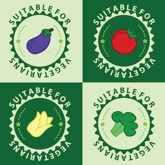 Набор вегетарианских пищей, значки вегетарианцев, значки, штампы и эмблемы