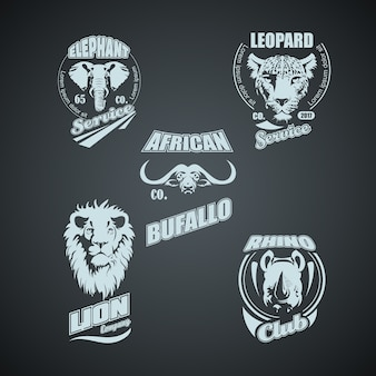 Набор винтажных африканских диких животных логотипов