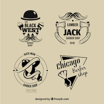 Set of vintage barbershop logos