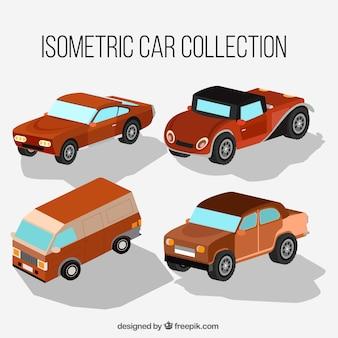 Set of vintage cars isometric