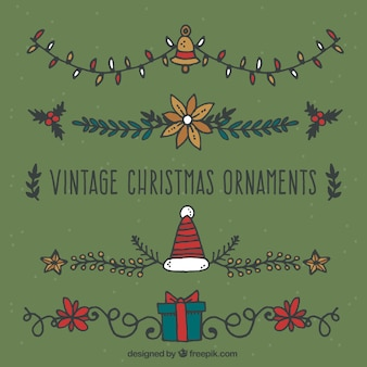 Set of vintage christmas ornaments
