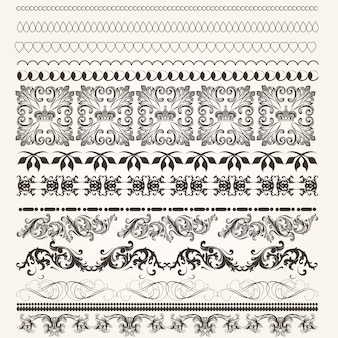 Set of vintage decorative borders