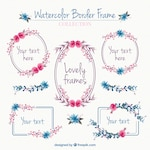 Set of vintage decorative frames with watercolor flowers
