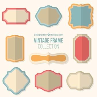 Set of vintage frames in flat design