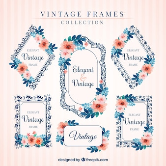 Set of vintage frames with floral watercolor details