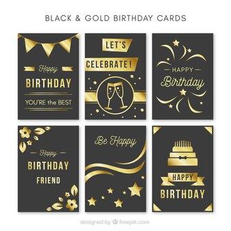 Set of vintage golden birthday cards