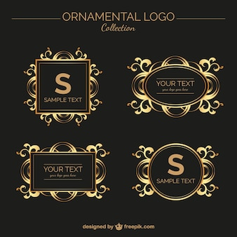 Set of vintage golden ornamental logos