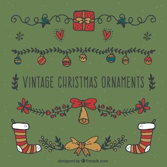 Set of vintage hand drawn christmas ornaments