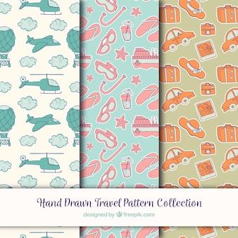 Set of vintage hand drawn travel patterns