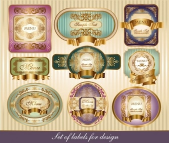 Set of vintage labels with gold ornaments
