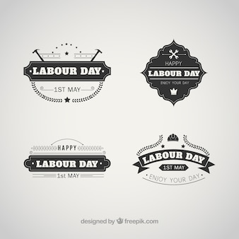 Set of vintage labour day badges