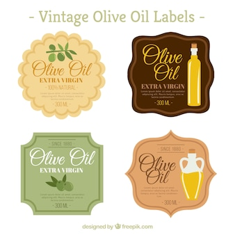 Set of vintage olive oil stickers