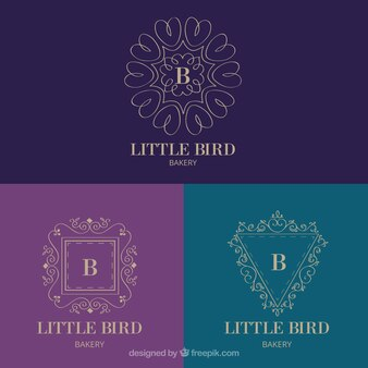 Set of vintage ornamental logos