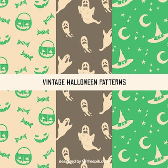 Set of vintage patterns with halloween elements