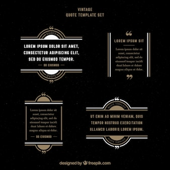 Set of vintage quote templates with frames