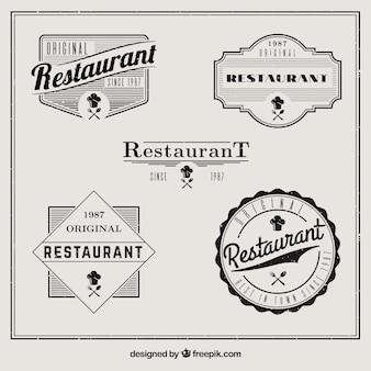 Set of vintage restaurant badges