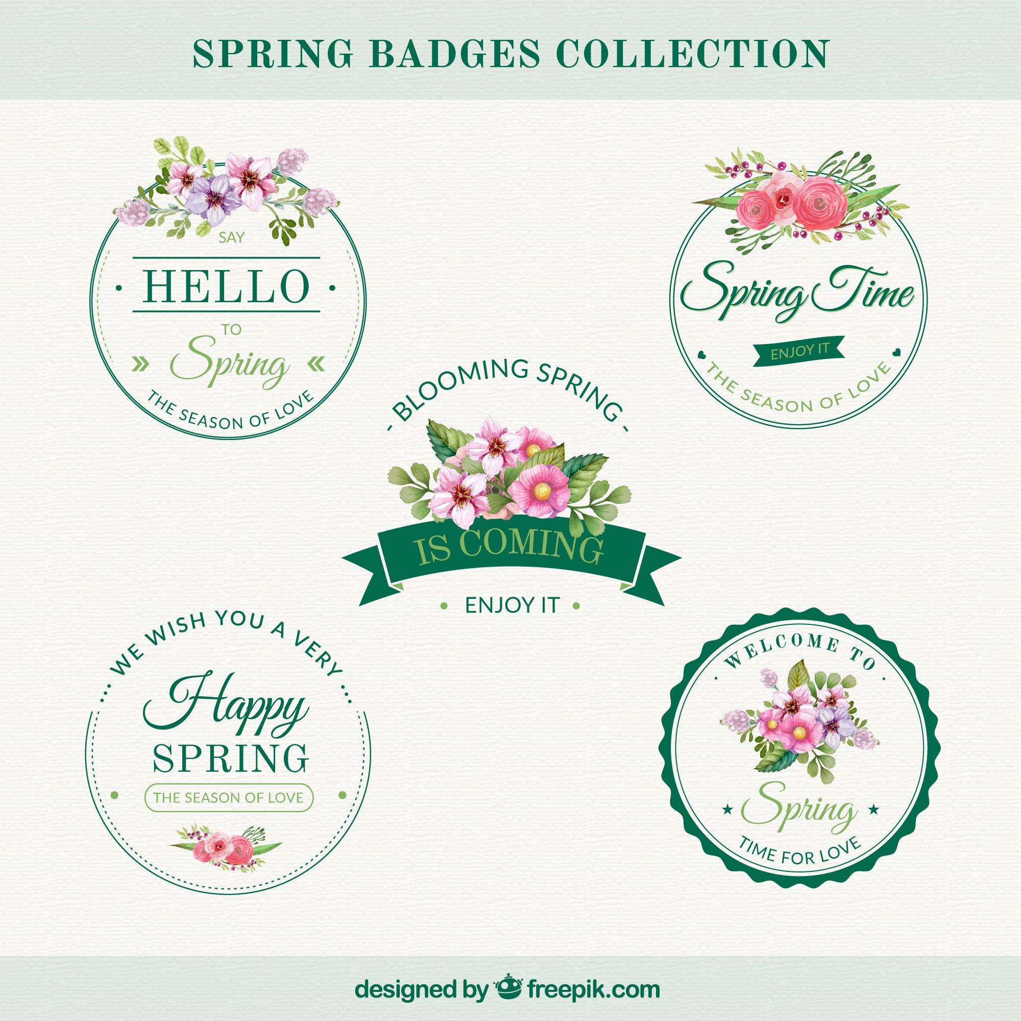 Set of vintage stickers with flowers