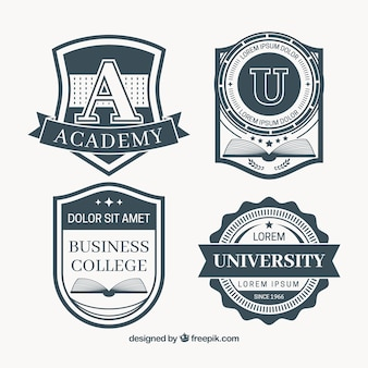 Set of vintage style education badges