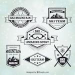 Set of vintage style ski badges