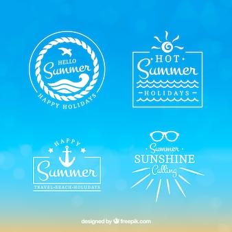 Set of vintage summer stickers
