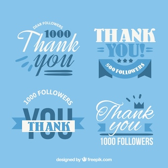 Set of vintage thank you stickers in flat design