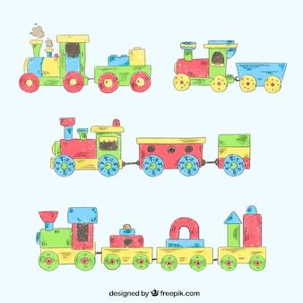 Set of vintage toy trains