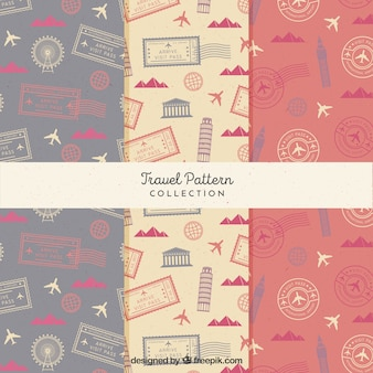 Set of vintage travel patterns