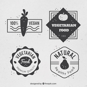 Set of vintage vegan badges